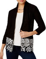 I.N.C International Concepts Petite Open-Front Lace-Trim Cardigan