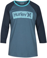 Hurley Men's One and Only Premium Graphic-Print Logo Raglan-Sleeve T-Shirt