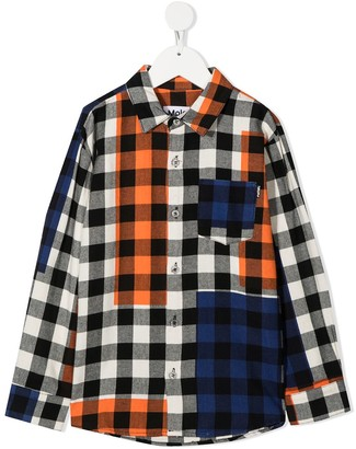 Molo Colour-Block Checkered Cotton Shirt
