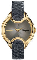 Salvatore Ferragamo Goldtone Stainless Steel Embossed-Leather Strap Watch, FIZ020015
