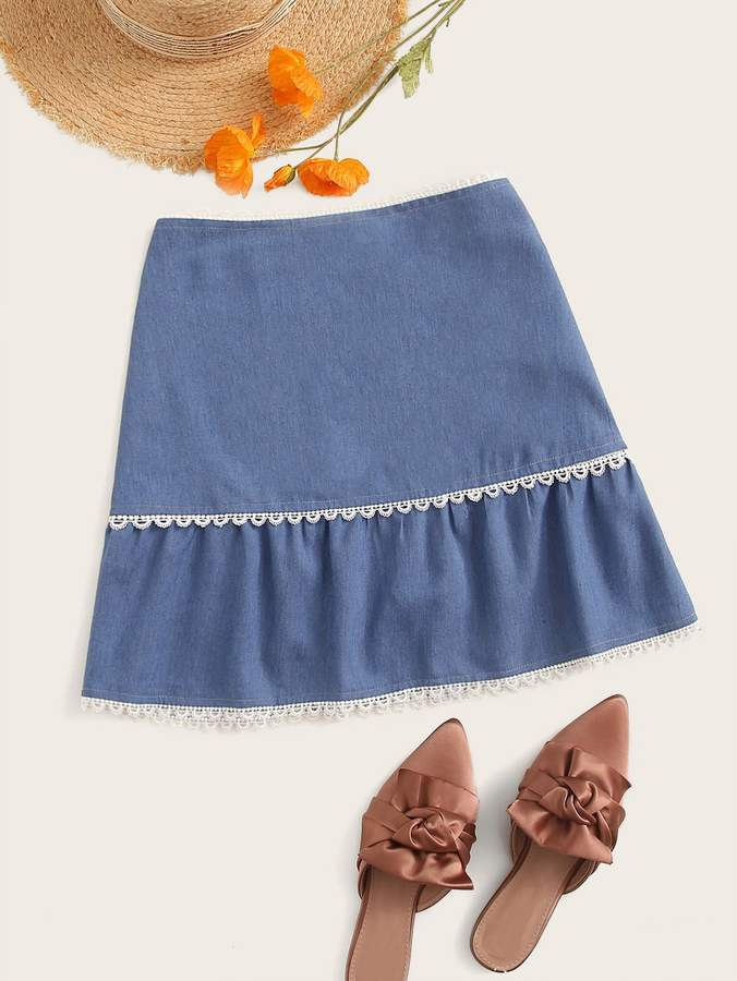 95d76e0928 Back Zip Denim Skirt - ShopStyle