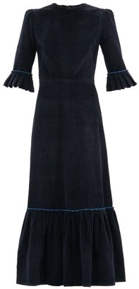 The Vampire's Wife The Festival Jumbo-cord Cotton Midi Dress - Navy