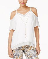 Thalia Sodi Cold-Shoulder Necklace Top, Created for Macy's