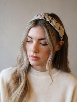 Tutti & Co Dazed Spot Print Knot Headband, Stone Grey