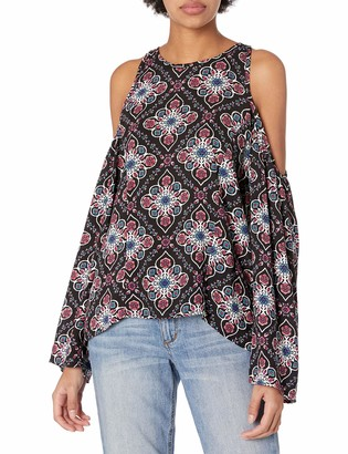 Lucca Couture Women's Cold-Shoulder Printed Bell-Sleeve Top