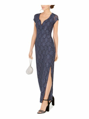 Connected Apparel Womens Gray Sequined Lace Short Sleeve V Neck Maxi Sheath Cocktail Dress Size: 12