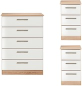 Swift Montreal Gloss 3 Piece Ready Assembled Package - 5 Drawer Chest and 2 Bedside Chests