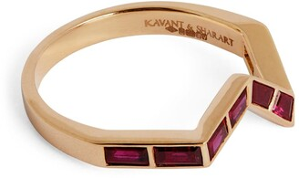 Kavant & Sharart Rose Gold and Ruby Origami Ziggy Ring (One Size)