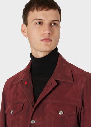 Paul Smith Men's Burgundy Suede Trucker Jacket