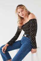 Urban Outfitters Smocked Long Sleeve Bardot Top