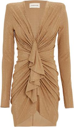 Alexandre Vauthier Ruffled Crystal Jersey Mini Dress