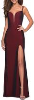 La Femme Strappy-Back Long Jersey Dress