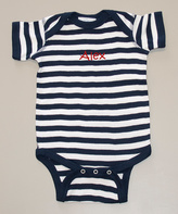 Princess Linens Navy & White Stripe Personalized Bodysuit - Infant