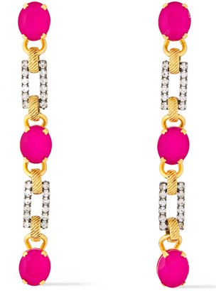 Elizabeth Cole Carla 24-karat Gold-plated, Hematite-plated, Stone And Crystal Earrings