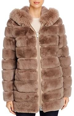 Maximilian Furs Fox Fur Trim Rabbit Fur Coat - 100% Exclusive