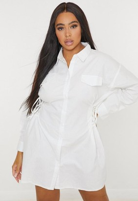 Missguided Size White Lace Up Side Shirt Dress