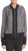 DKNY Women's Double Layer Silk & Cotton Blend Hoodie