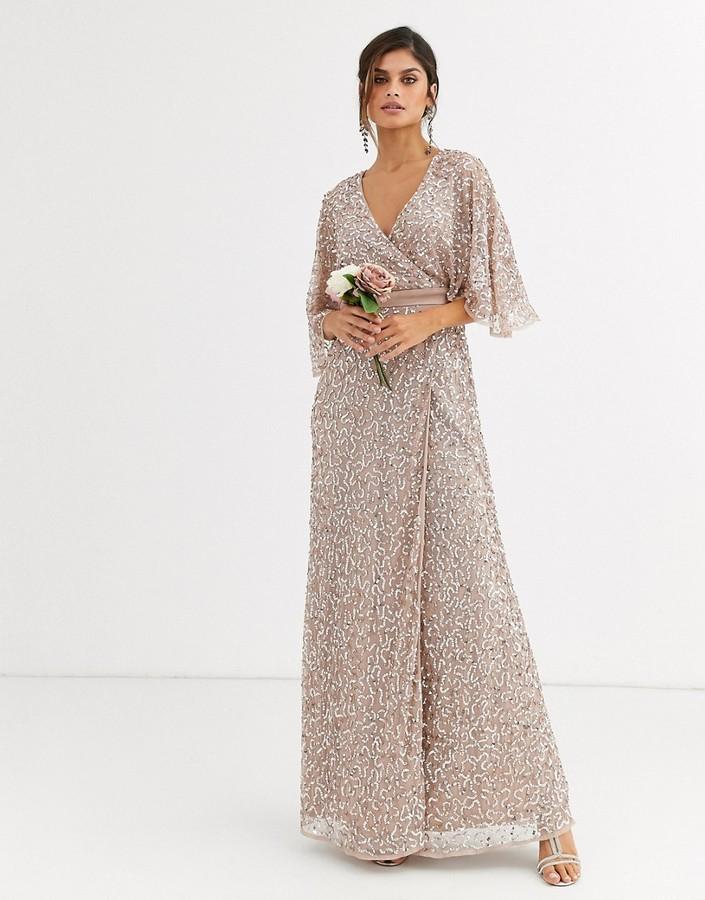Maya Bridesmaid delicate sequin wrap maxi dress in taupe blush