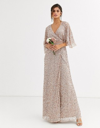 Maya Bridesmaid delicate sequin wrap maxi dress in taupe blush-Brown