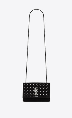 Saint Laurent Monogram Kate Kate Small In Suede With Crystals And Glow In The Dark Logo Black Onesize
