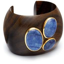 The Branch Jewellery Gold Plated Rounded Cuff with Blue Quartz Stones Cluster