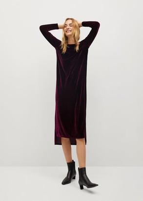 MANGO Asymmetric velvet dress maroon - 4 - Women