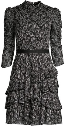 Rebecca Taylor Ceclia Silk-Blend Lace Dress
