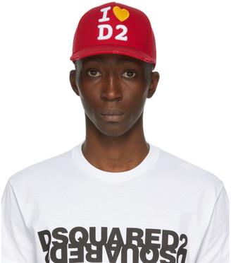 DSQUARED2 Red I Heart D2 Baseball Cap
