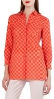 Akris Sun Susie Check & Heart Print Cotton Voile Shirt