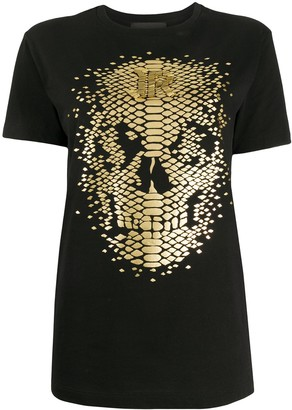 John Richmond foil skull print T-shirt