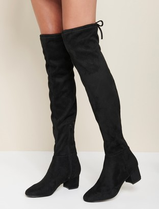 Forever New Abbie Low Block Over-the-Knee Boots - Black - 36
