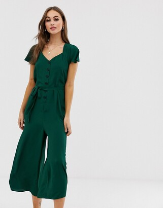 Asos DESIGN frill sleeve jumpsuit with cut out back