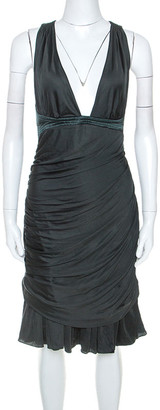 Roberto Cavalli Dark Green Stretch Knit Flared Bottom Draped Midi Dress L