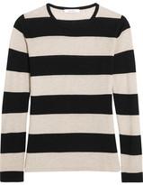 Max Mara Adone Striped Silk And Cashmere-blend Sweater - Black