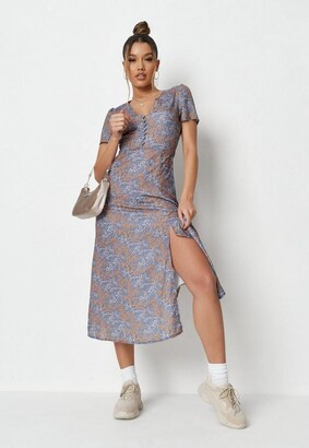 Missguided Purple Floral Half Button Midi Tea Dress