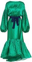 Silvia Tcherassi Ethel Polka Dot Puff Sleeve Ruffled Midi Dress