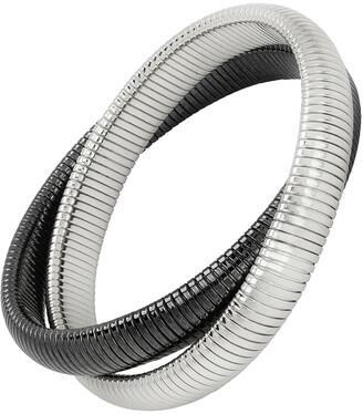 Janis Savitt High Polished Rhodium and Gunmetal Plated Medium Double Cobra Bracelet