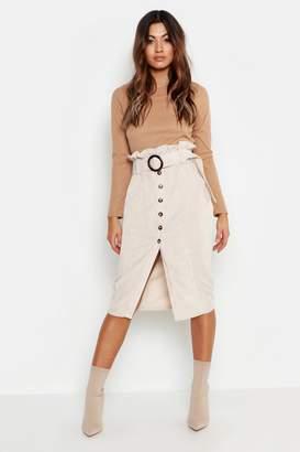 boohoo Cord Paperbag Button Midi Skirt