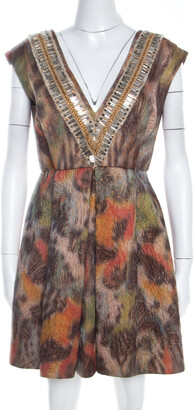 Matthew Williamson Multicolor Printed Jacquard Plunge Neck Cocktail Dress M