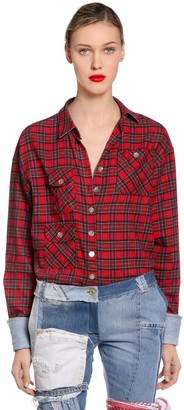Ronald Van Der Kemp PLAID FLANNEL SHIRT W/ DENIM CUFFS