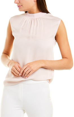 Vince Ribbed Trim Silk Shell Top