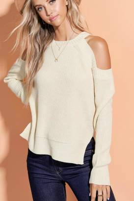 La Miel Cold Shoulder Sweater-Top