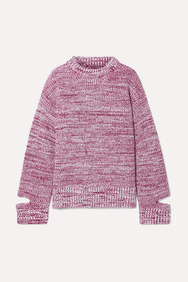 Maison Margiela Melange Wool Turtleneck Sweater - Claret