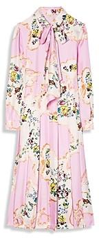 Tory Burch Floral Print Tie Neck Silk Dress