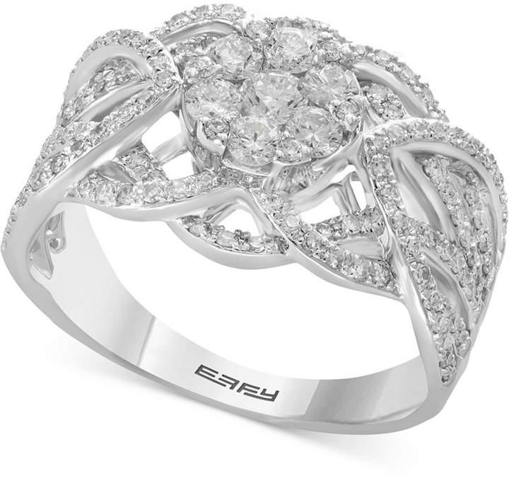 Effy Diamond Openwork Cluster Ring (1 ct. t.w.) in 14k White Gold