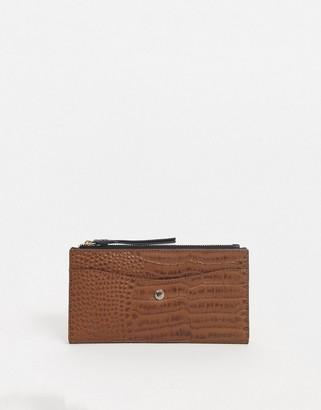 Paul Costelloe real leather tan zip around purse