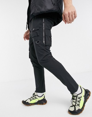 ASOS DESIGN skinny trousers with side zips in black