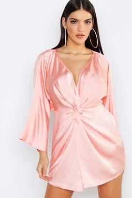boohoo Satin Print Twist Front Mini Dress