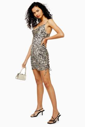 Topshop Womens Animal Print Ruched Slip Dress - Stone
