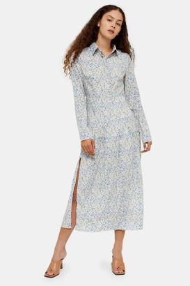 Glamorous Womens **Blue And Yellow Daisy Midi Shirt Dress By Multi